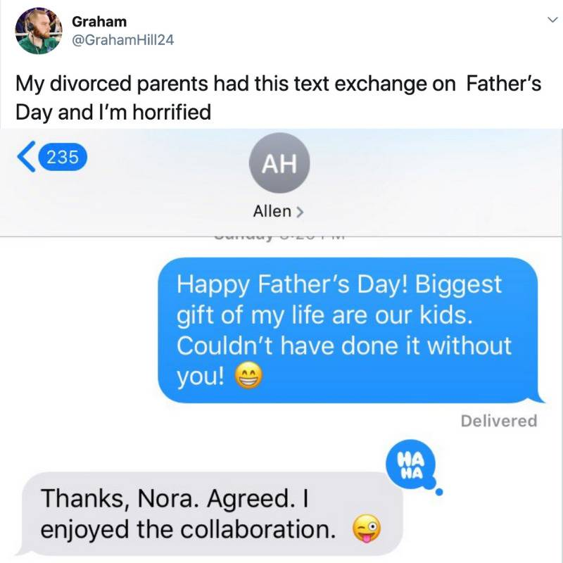 divorced parent interaction: mother sends dad a Happy Father's Day text and dad response