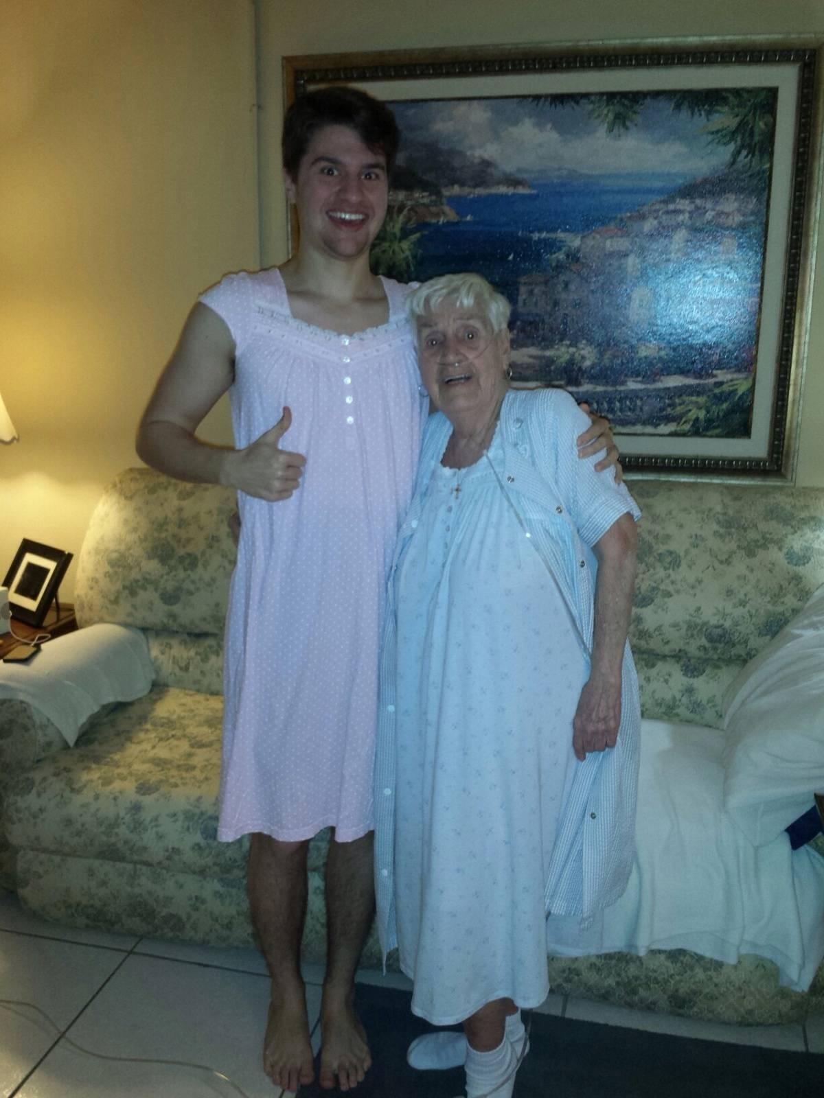 grandma bought grandson a nightgown