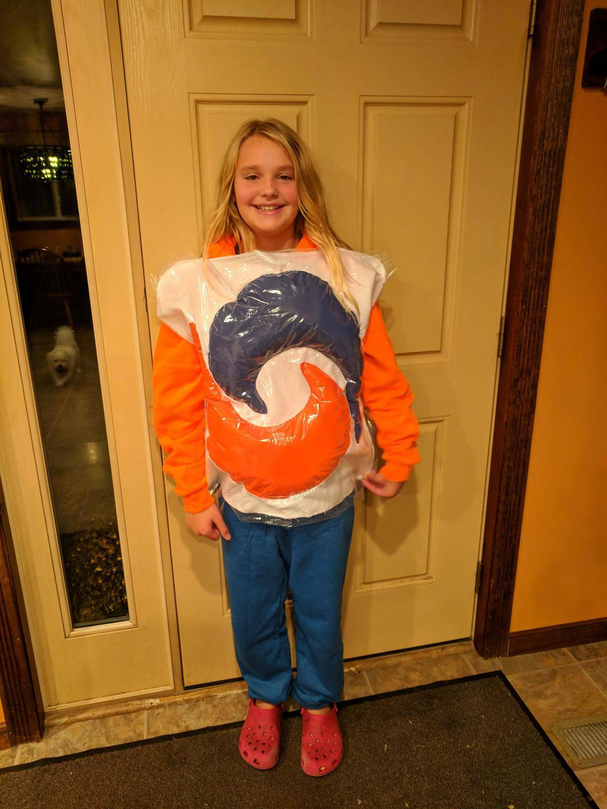 girl dressed up as tide pod
