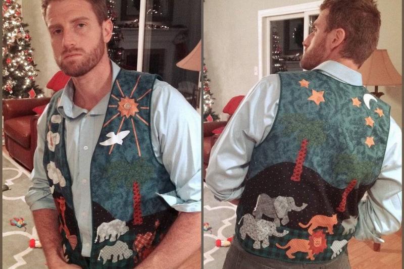 grandma made fun vest for grandma