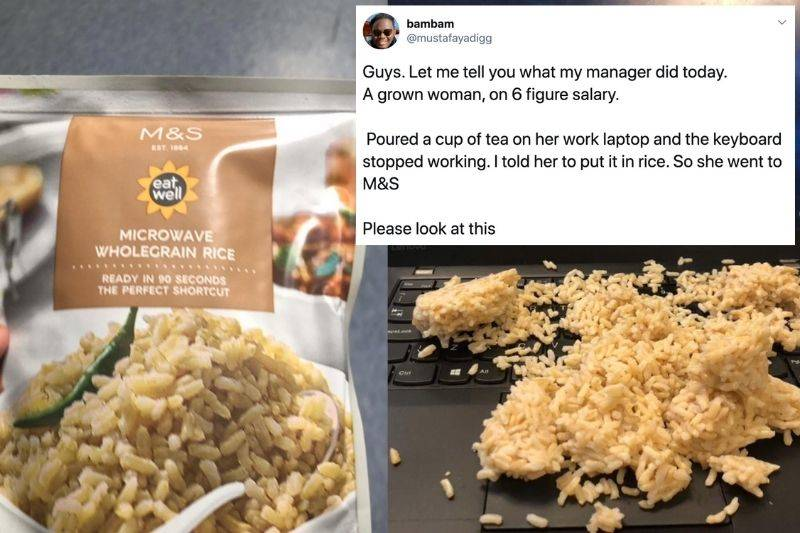 woman put precooked rice on her computer