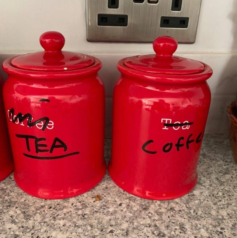 mom bought tea and coffee containers