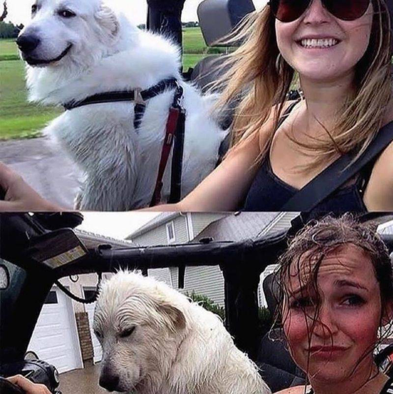 before and after picture of getting caught in the rain