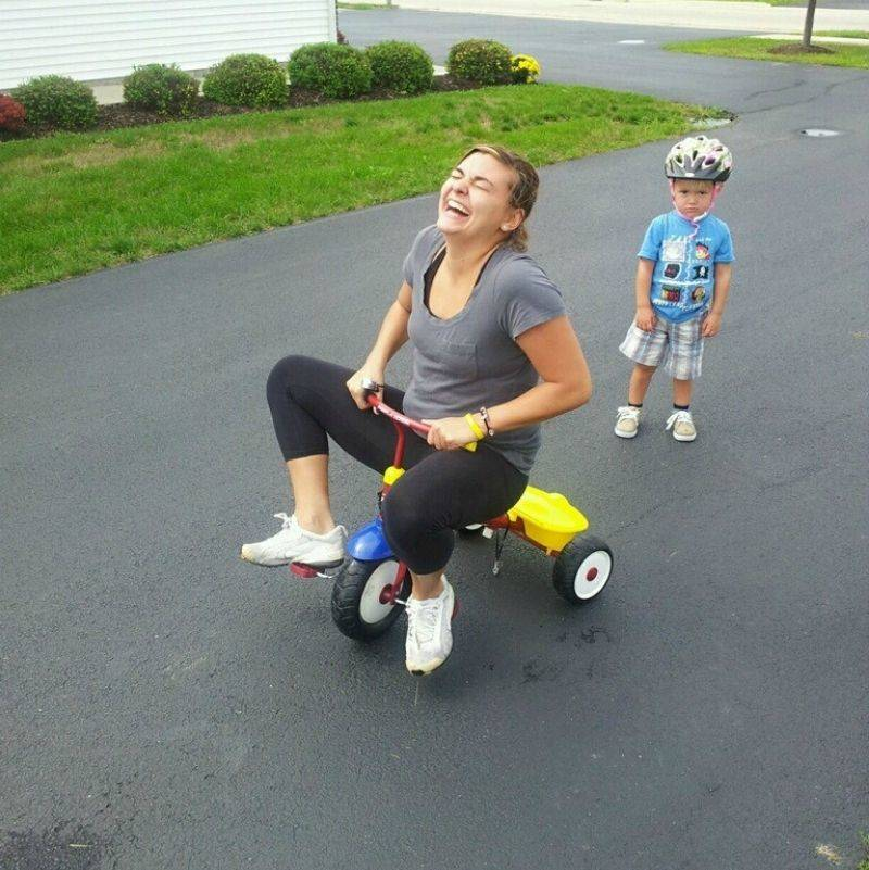 mom stole son's bike and is riding it