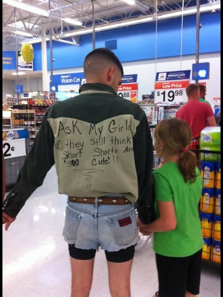 Dad Teaching lesson by wearing short shorts