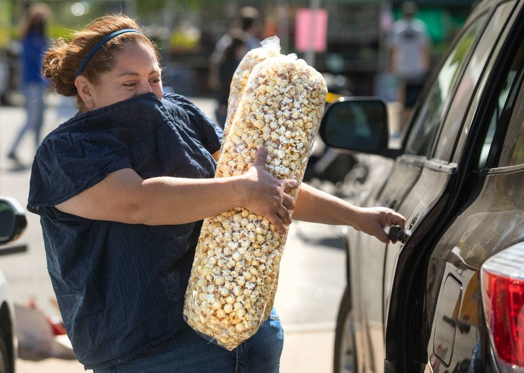 woman with popcorn