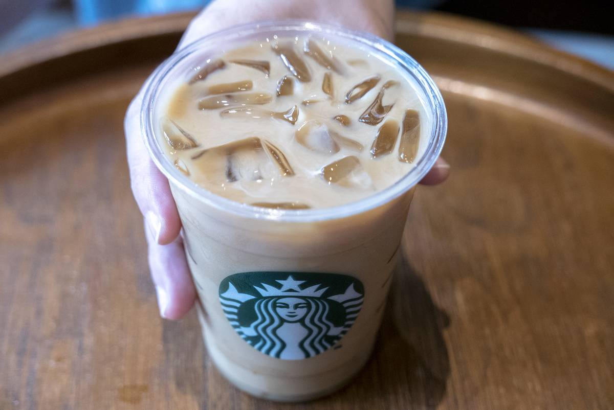 A cup of icy Starbuck coffee