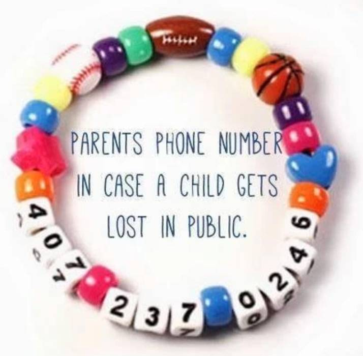 children's bracelet with beads that spell out parent phone number
