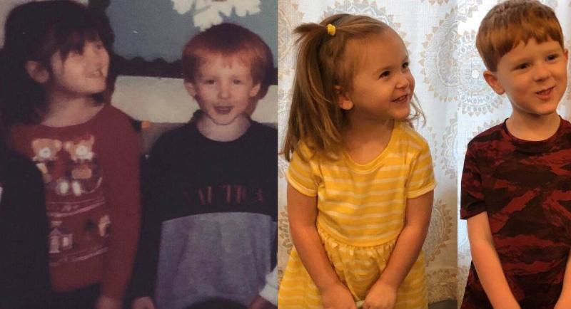 two nearly identical photos of two kids