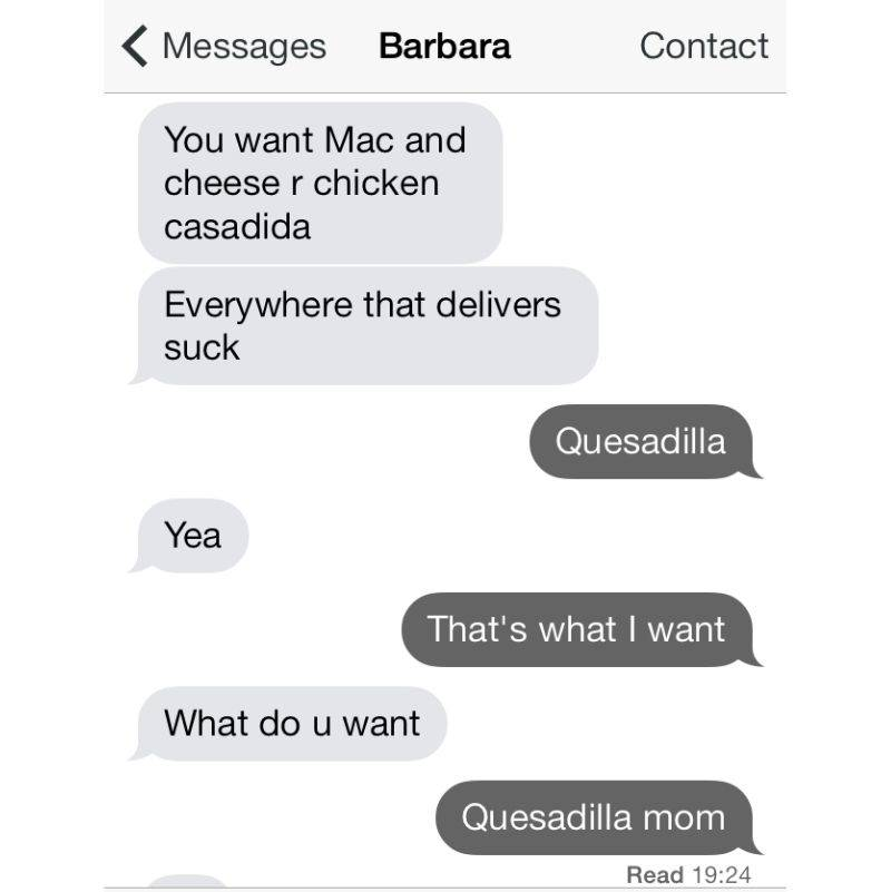 mom confuses herself about what her daughter wants for dinner