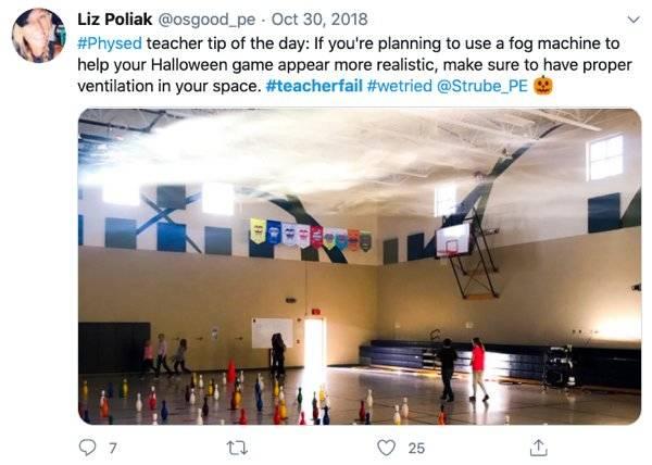 fog machine rising in gym