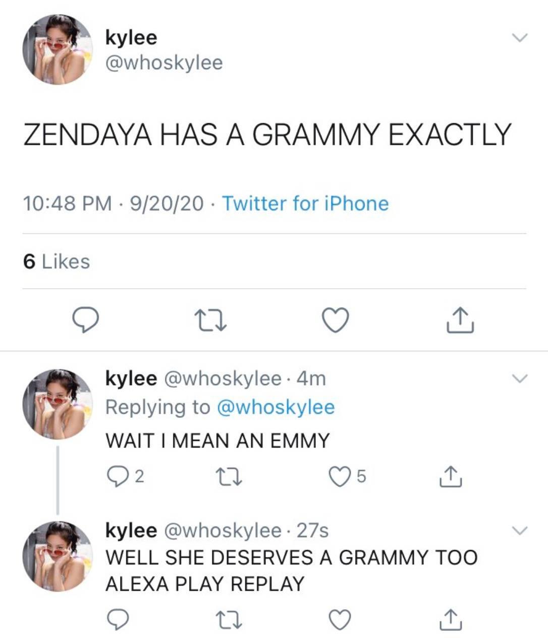 someone thinking that Zendaya won a Grammy