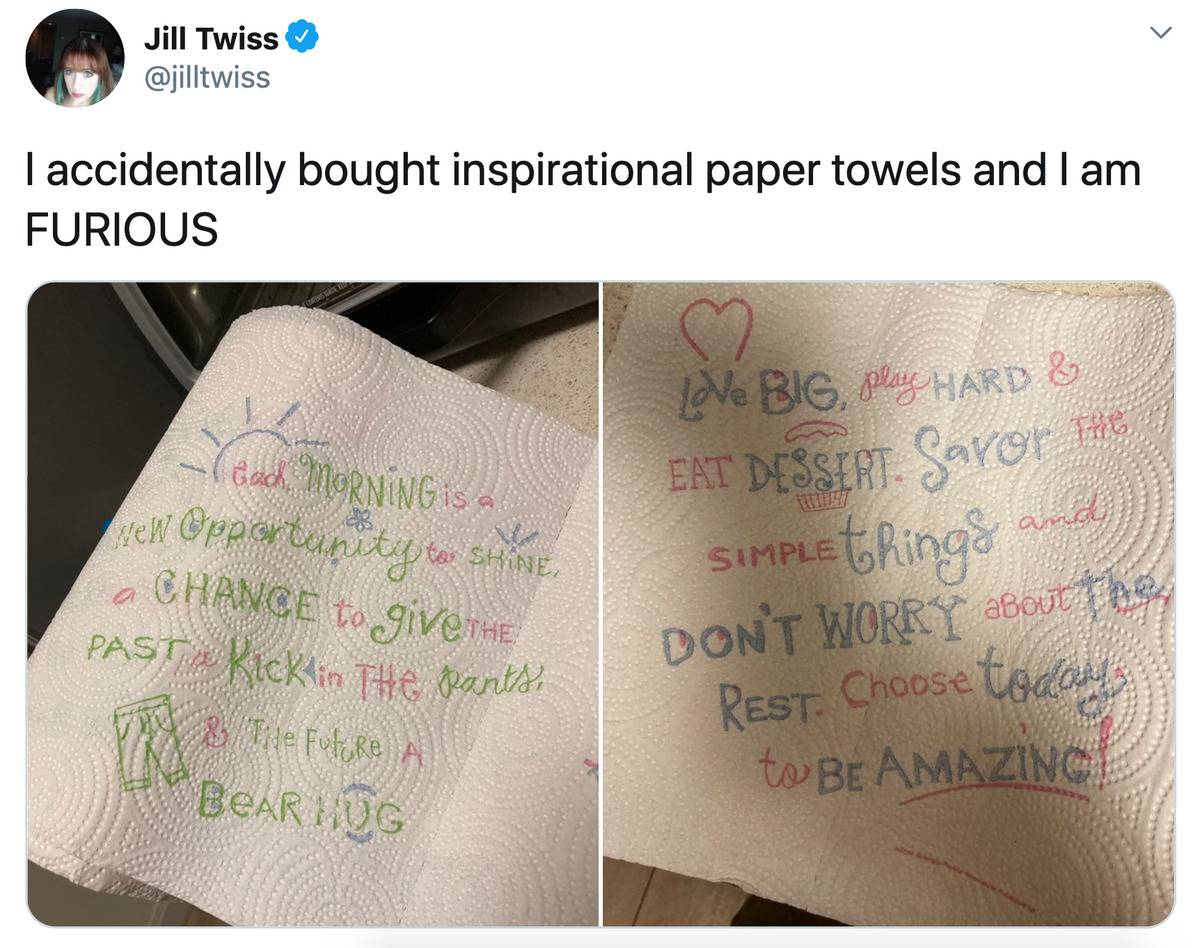 Tweet: I accidentally bought inspirational paper towels and I am furious