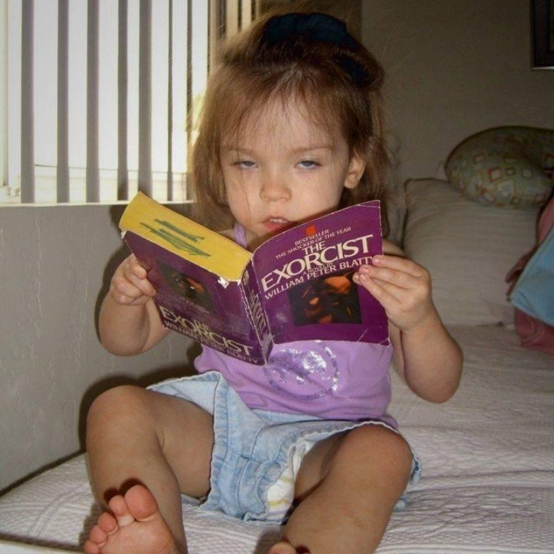 kid reading the Exorcist