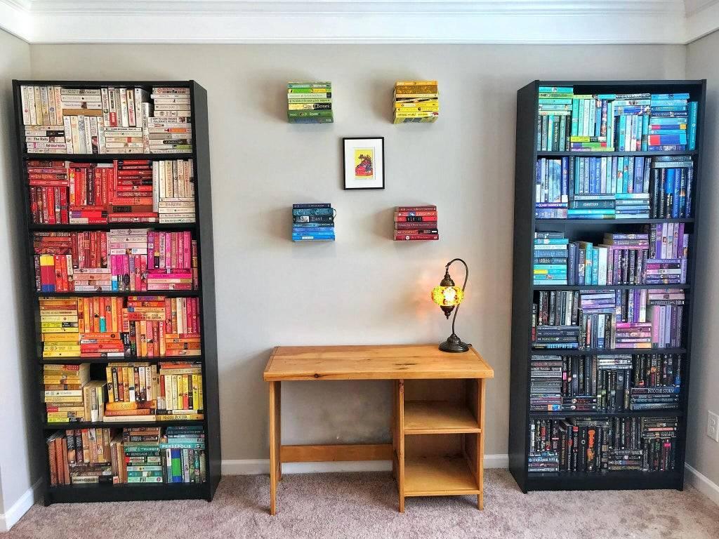 organize book shelf by color