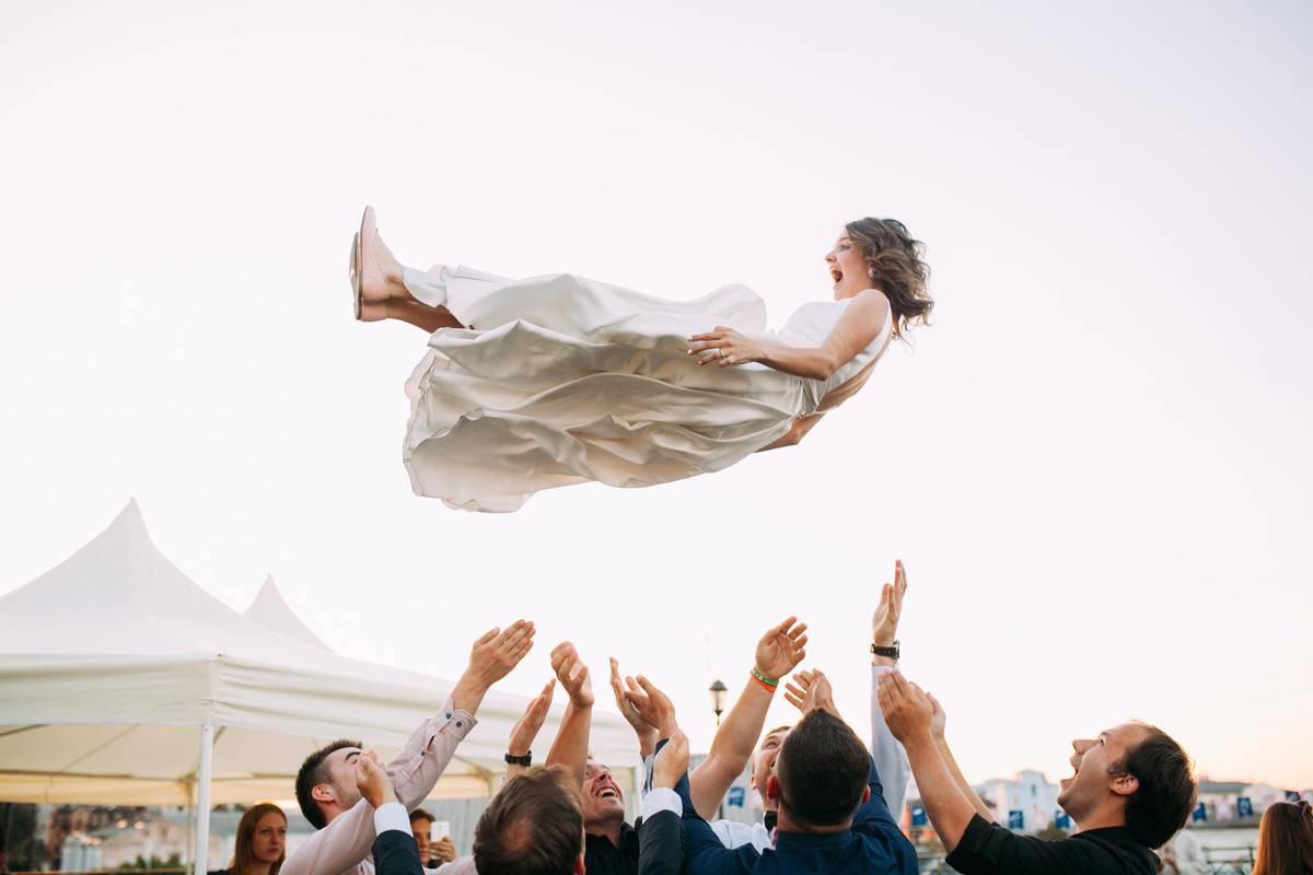 party throws up bride