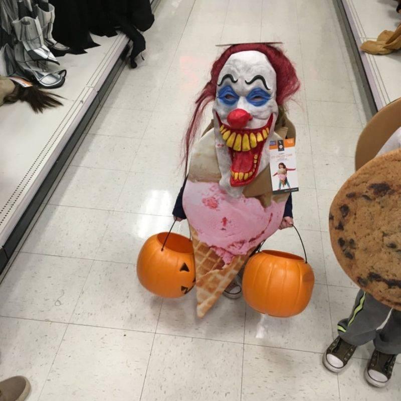 kid wearing an ice cream and clown costume
