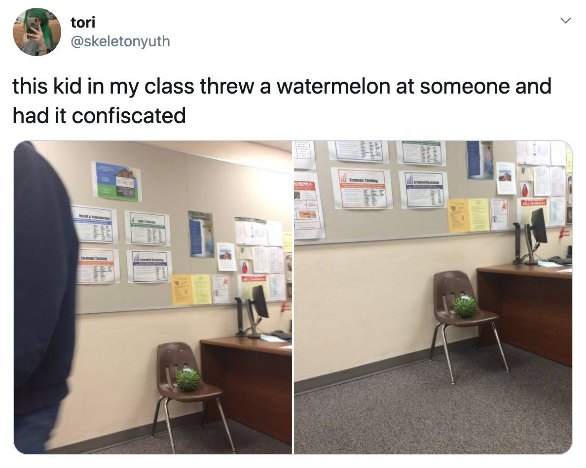 this kid in my class threw a watermelon at someone and had it confiscated (photo of watermelon on chair in a corner)