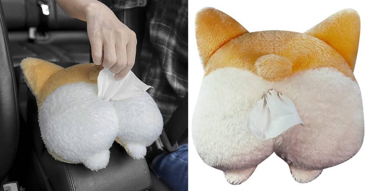 corgi butt tissue box