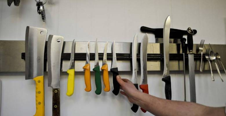 Magnetic knife strip for the kitchen
