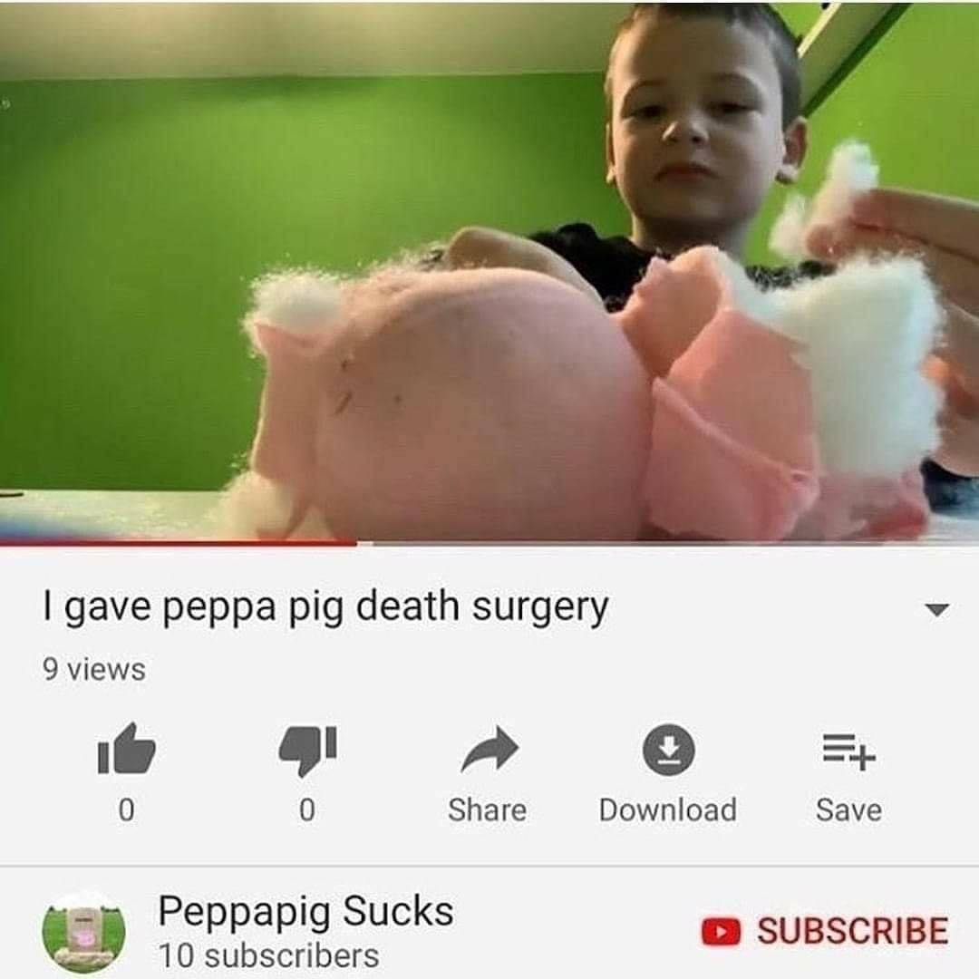 kid picking apart a Peppa pig doll on YouTube video titled