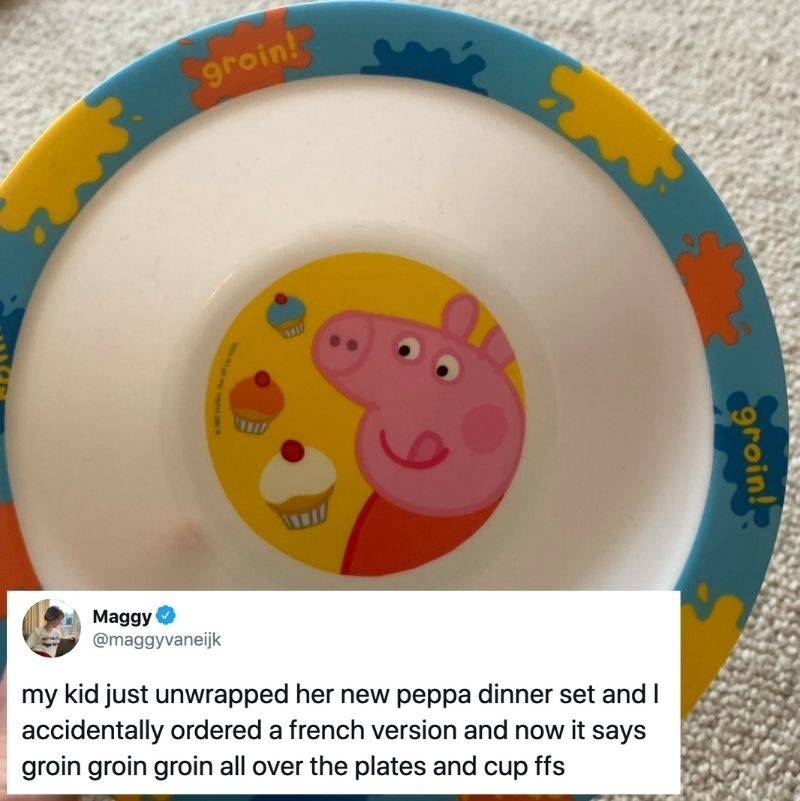 someone bought a plate that was in French by accident
