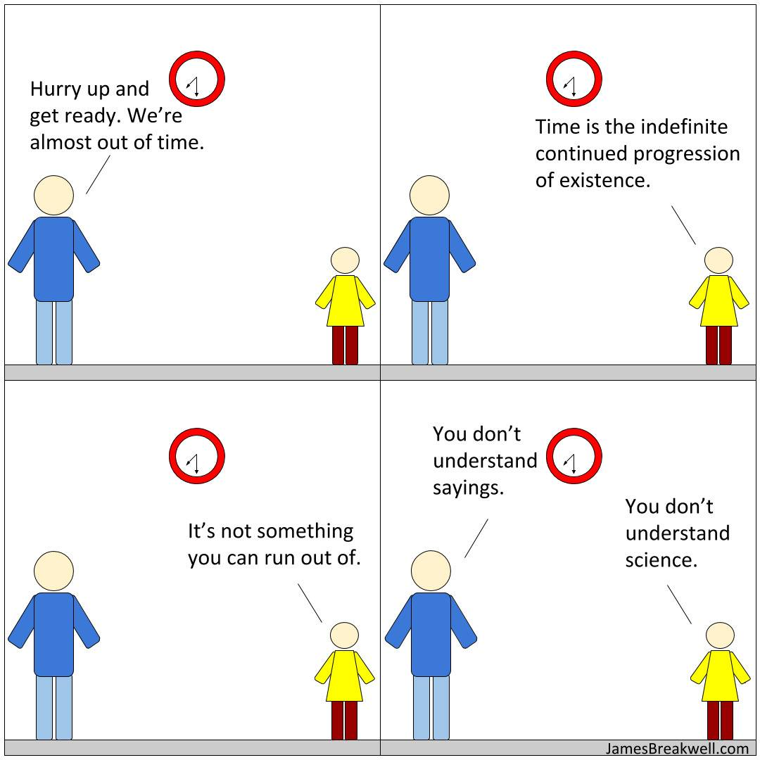 comic of kid and dad looking at clock arguing about the nature of time