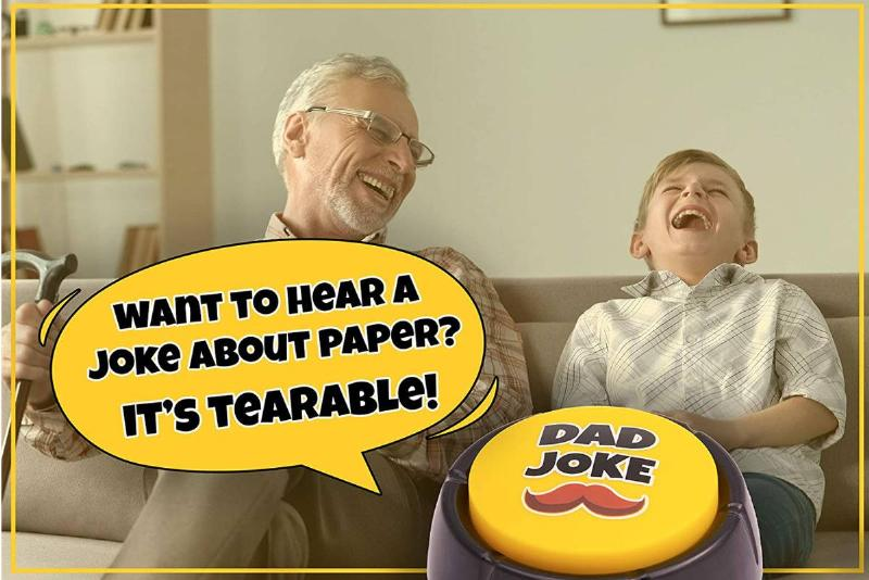 father and son with joke