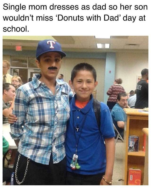 single mom dressed up as a dad for a father-son event at school