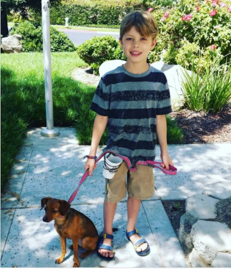 kid walking dog with cup on his belt