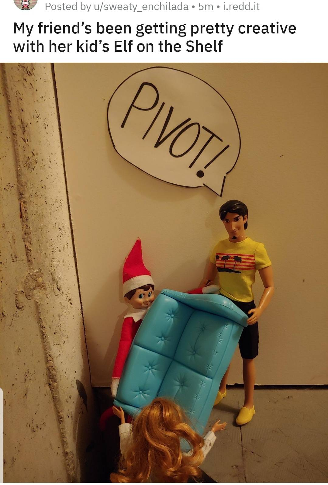 elf and ross moving a couch