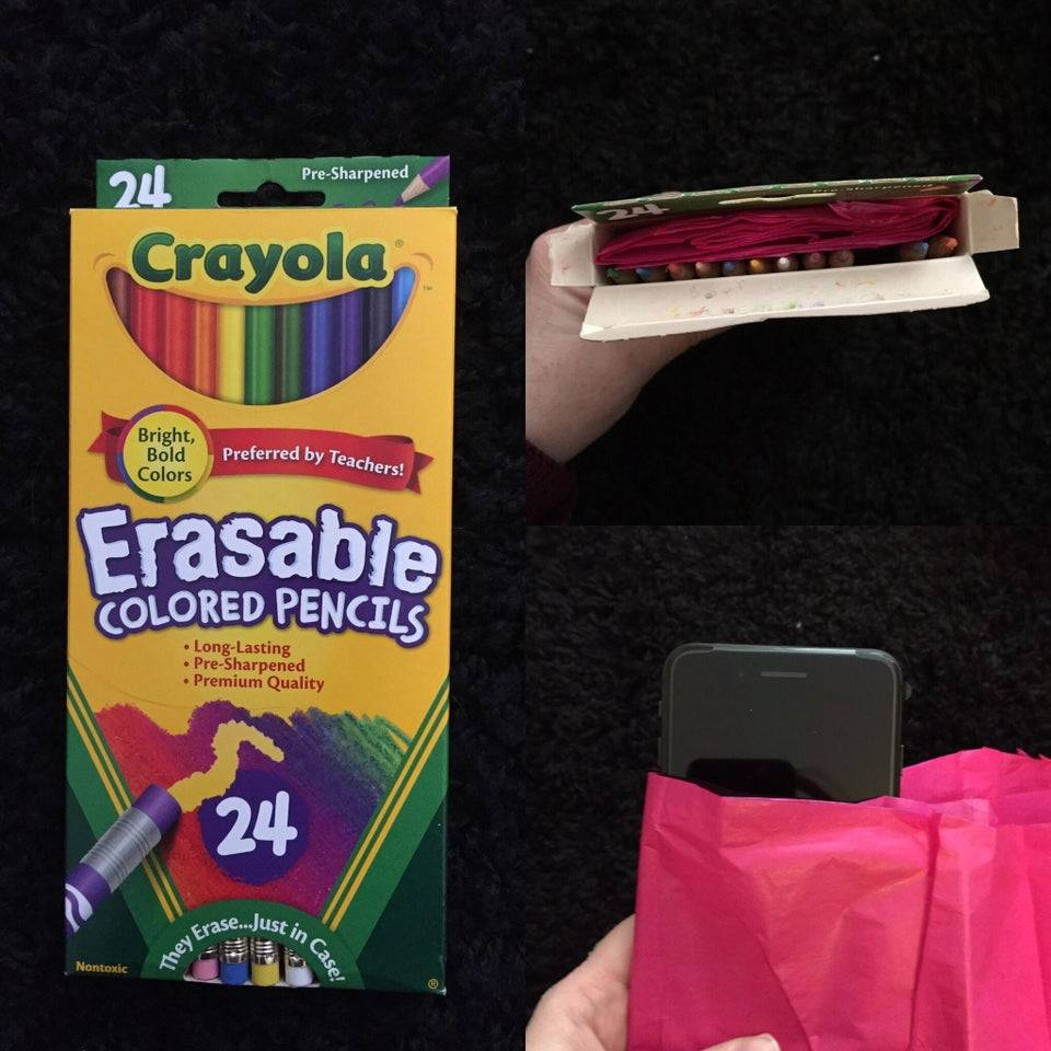 iphone present hidden in box of colored pencils