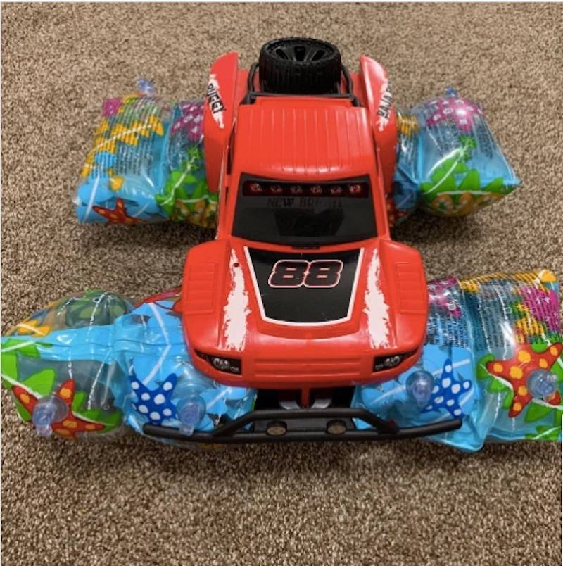 toy car with water wings on tires