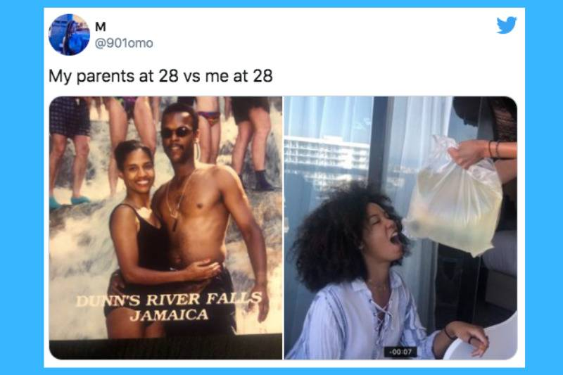parents in jamaica vs girl drinking bagged wine