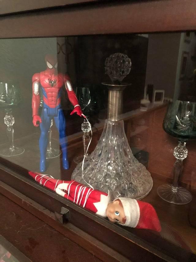 elf caught in spider-man's web