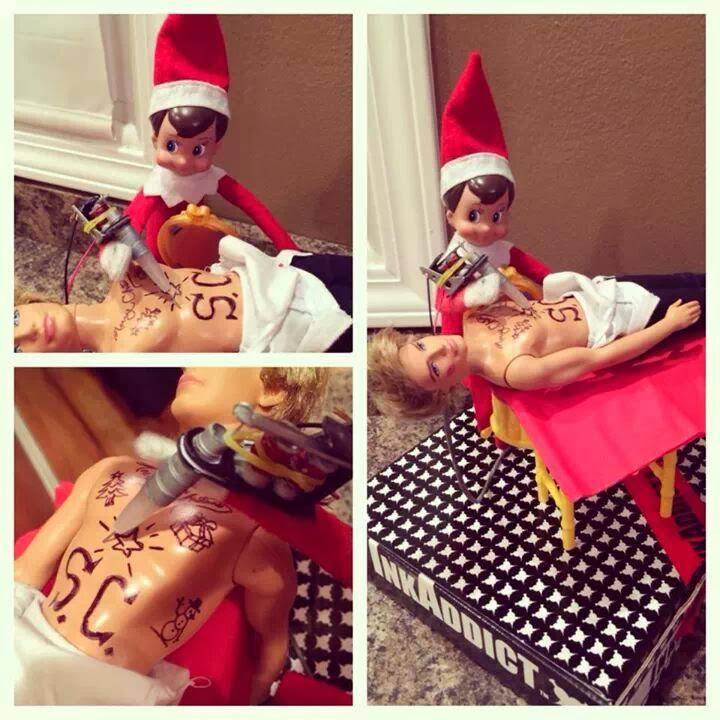 elf tattooing a ken doll