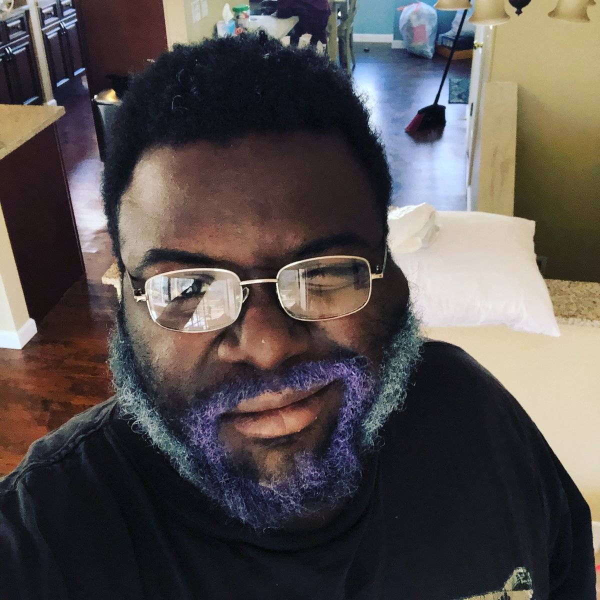 blue and purple beard on dad with glasses