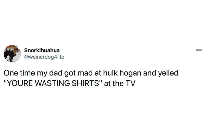 Tweet: One time my dad got mad at Hulk Hogan and yelled