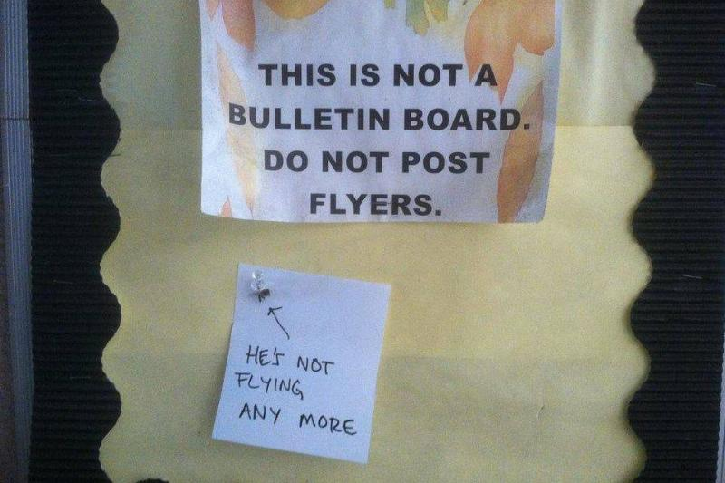 fly tacked to bulletin board that says no flyers