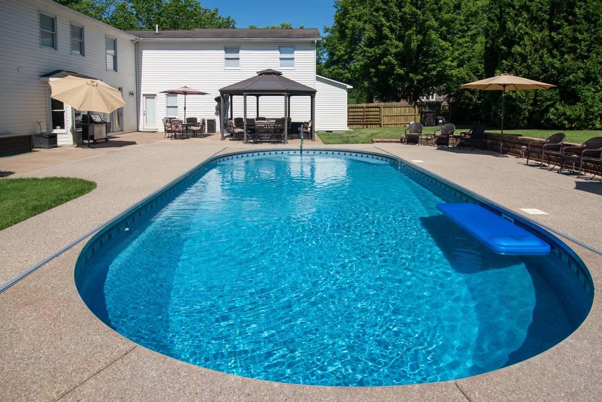 Beautiful backyard swimming pool at an upscale American home