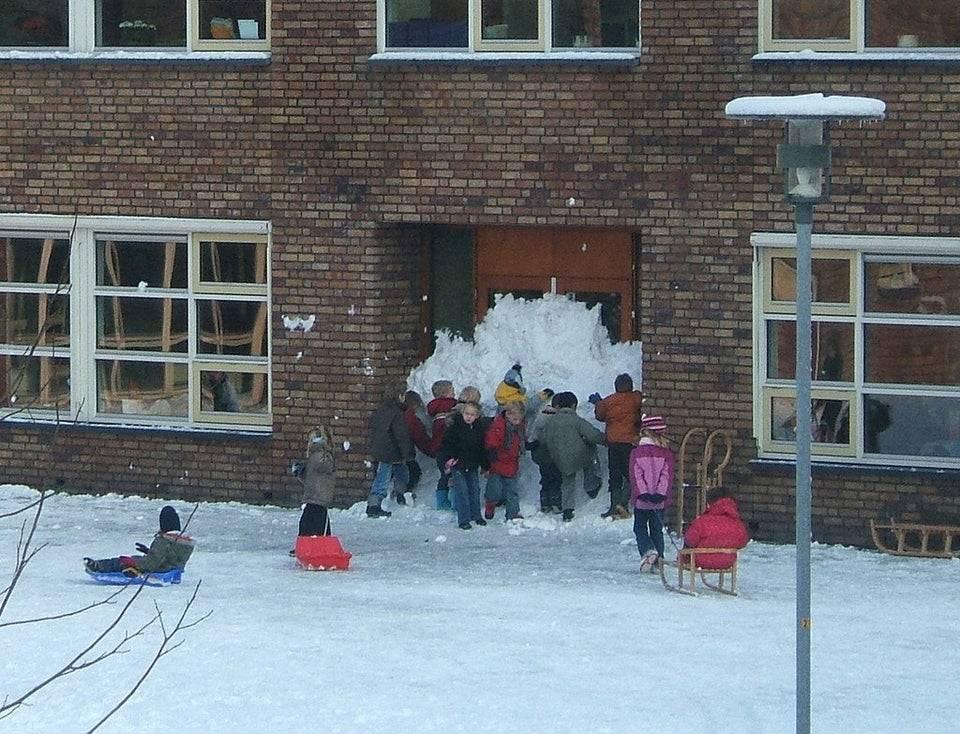 kids block off front door to school