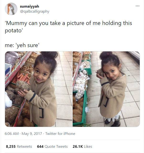 tweet about a girl who wanted her picture taken with a potato