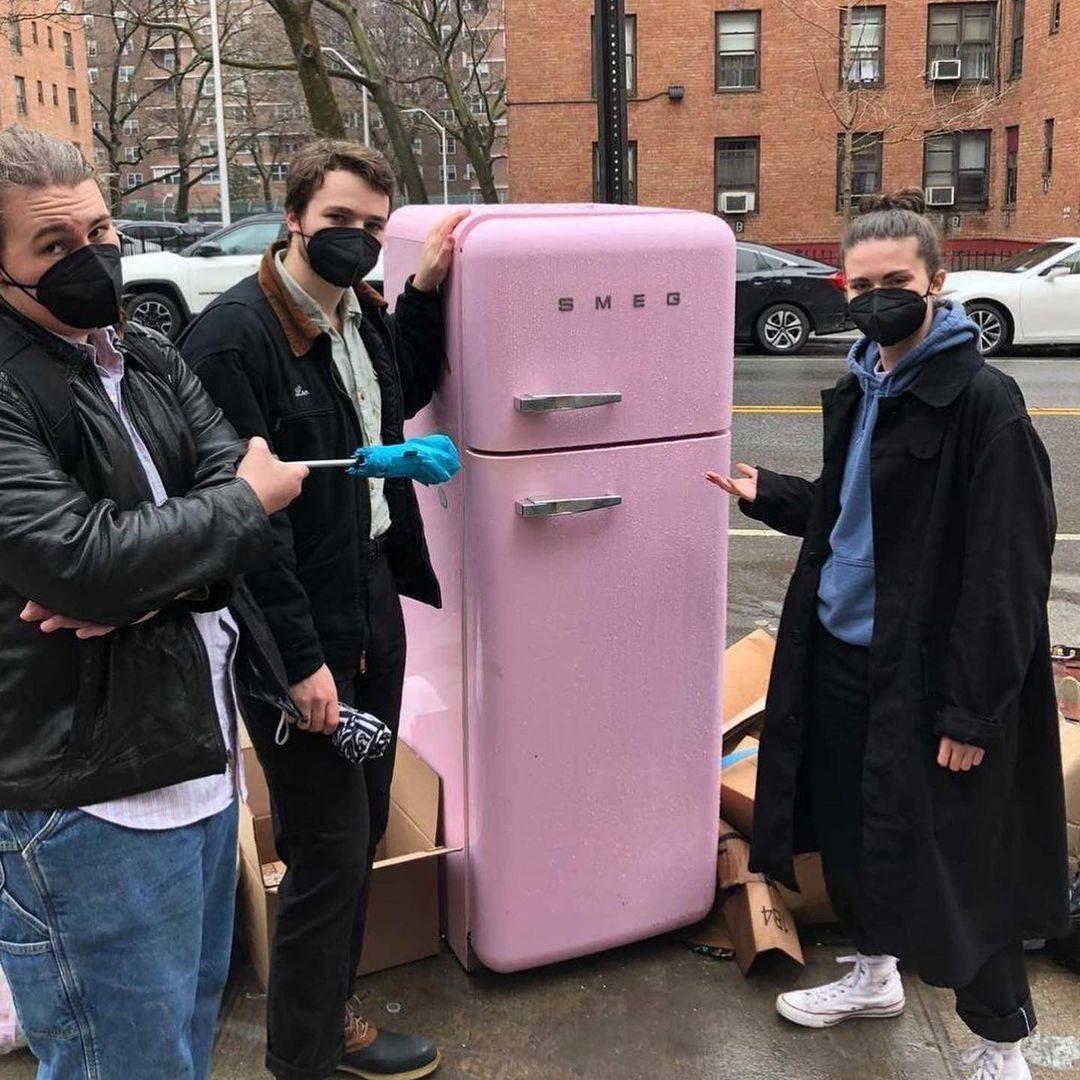 free pink fridge