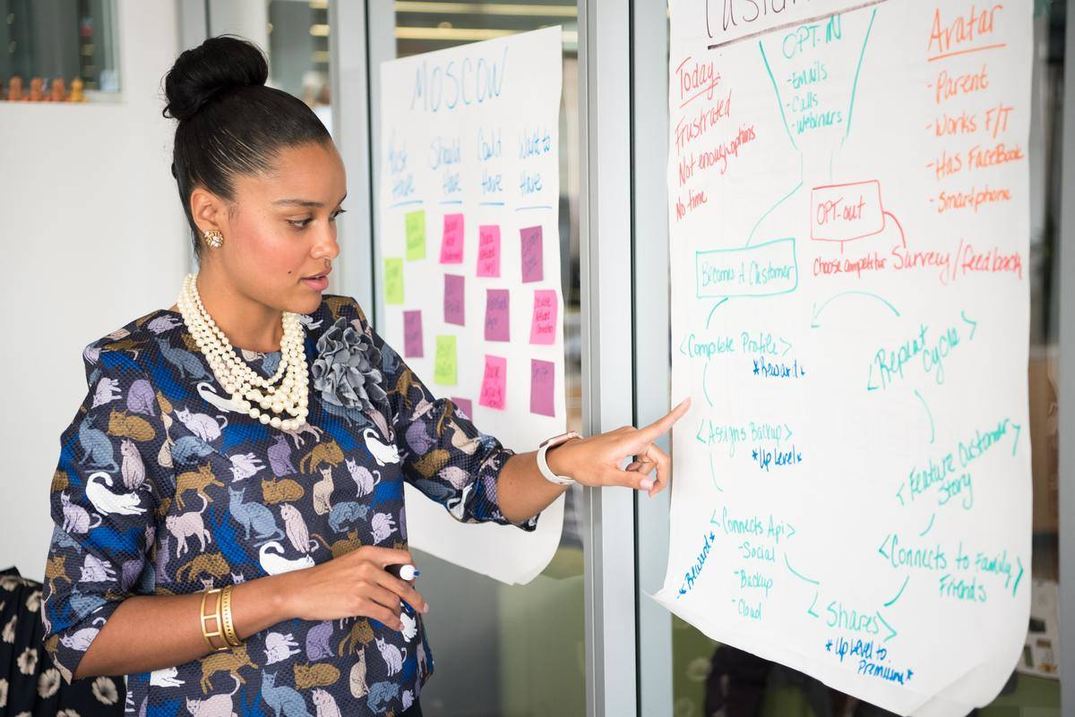 woman pointing to chart during presentation