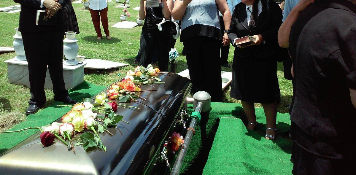 casket outdoors at funeral