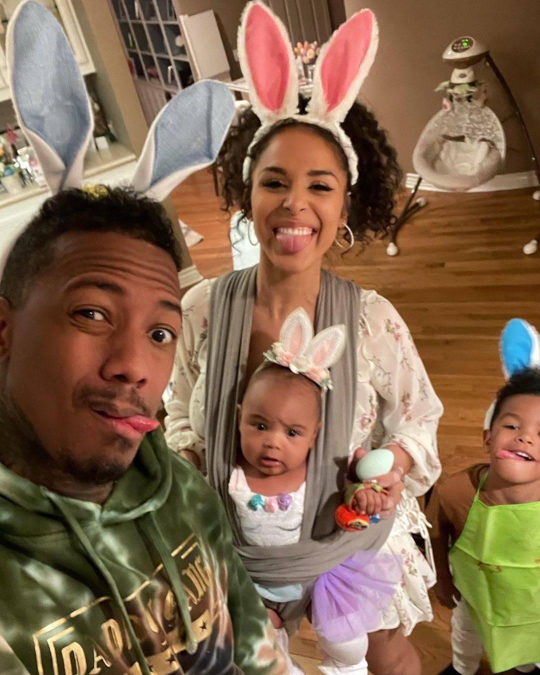 Nick Cannon with Brittany Bell and two kids on Easter