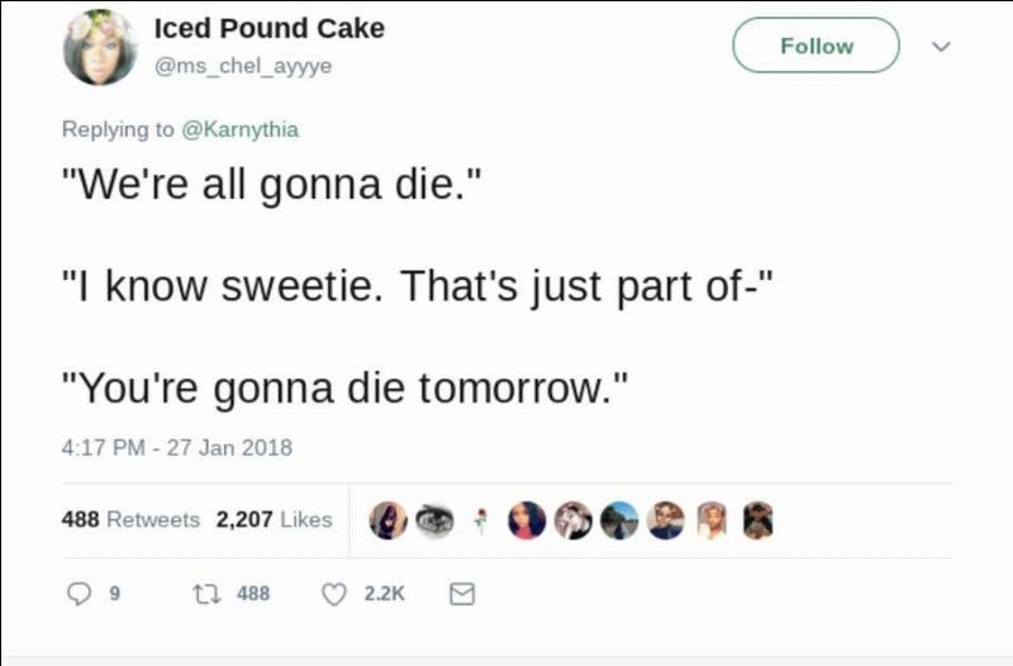 kid tells mom she's gonna die tomorrow