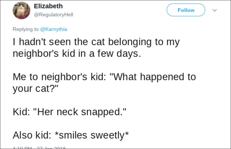kid says the cat's neck snapped while smiling sweetly