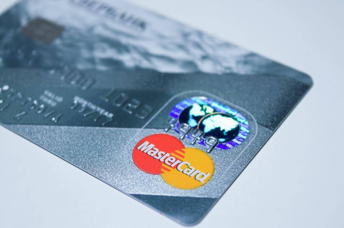 Close-up photo of a silver MasterCard.